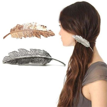 Women Gold/Silver Leaf Feather Hair Clip Hairpin Barrette Bobby Pins Pop.Rh