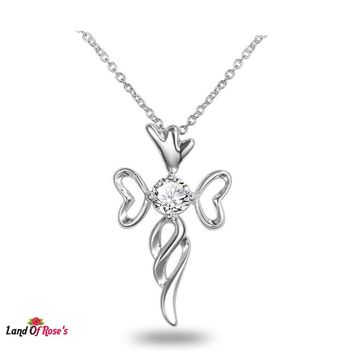 """Infinity Sign 925 Sterling Silver Plated """"Love Heart Celtic Knot Cross"""" Pendant & Necklace"""