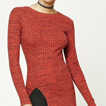 Front Slit Marled Knit Sweater