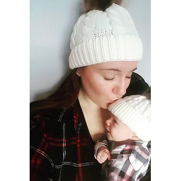 Mommy & Me Beanie Puff Caps - White Set