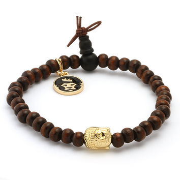 Brown Wood Gold Buddha Beaded Meditation Bracelet