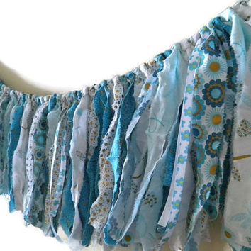 Fabric garland photo prop teal aqua white gold candy table teen room home decor boho chic Spring decoration gypsy