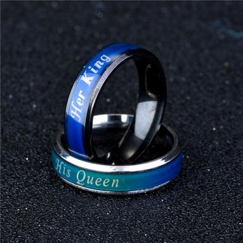 Cool Temperature Mood Emotion Feeling Change Stainless Steel RingS Color His Queen Her King Women Men Couple RingAT_93_12