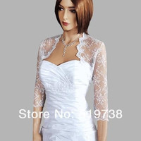 Custom Gorgeous White Bridal Shrug Wrap Party Cape Bolero 3/4 Sleeve Lace Jacket Wedding Shoulder Accessory = 1929671044