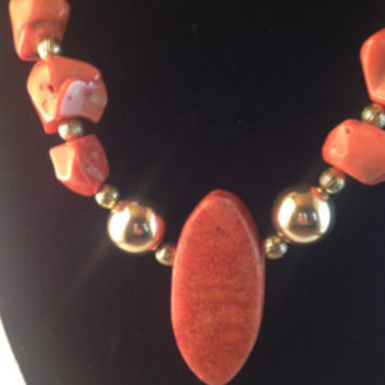 Coral Momo Ocean Choker with Gold Accents and Coral Resin Pendant