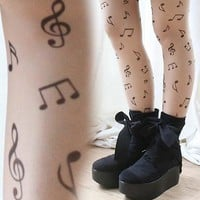 Japan Kera Punk Music Score Note Clef Tattoo Nude Sheer Pantyhose Hoisery Tights