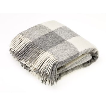 Natural Collection Pure New Wool Throw Blanket Checkaboard Gray