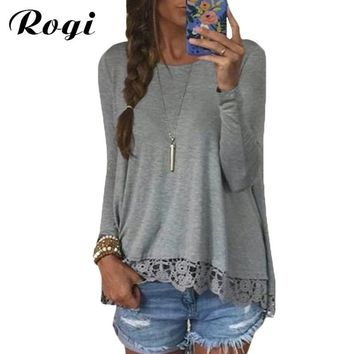 Rogi Women Blouse 2017 New Fashion Long Sleeve O-Neck Casual Jumper Tops Sexy Lace Crochet Tunic Shirt Blusas Camisas Plus Size