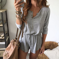 Sexy Jumpsuit Romper Long Sleeve  Women Playsuit Ladies Women Shorts Beach