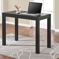 Compact Home Office Student Dorm Laptop Computer Desk Writing Table in Black Oak Finish