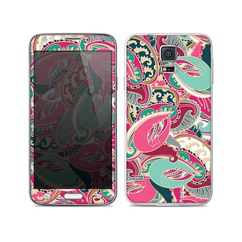 The Colorful Pink & Teal Seamless Paisley Skin For the Samsung Galaxy S5