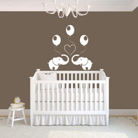 Two Elephants Animals Balloons Heart Wall Vinyl Decal Sticker Children Boy Girl Kids Baby Room Nursery Design Interior Decor Bedroom SV5318