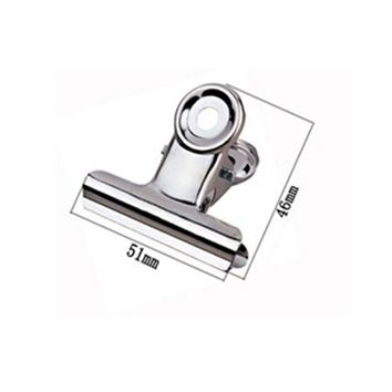 Free Shipping (36pcs/lot) 51mm round top Grip Clips Bulldog clip stainless steel paper clip Office supply metal bill clip