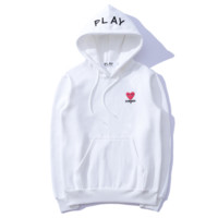 Play New fashion sweater love heart letter embroidery hooded couple sweater top White
