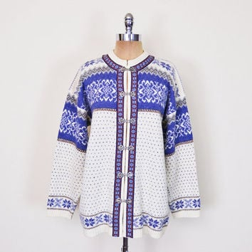 Vintage 70s 80s Ivory & Blue Fair Isle Cardigan Fair Isle Sweater Fairisle Jumper Nordic Sweater Icelandic Sweater Wool Men Women M L XL