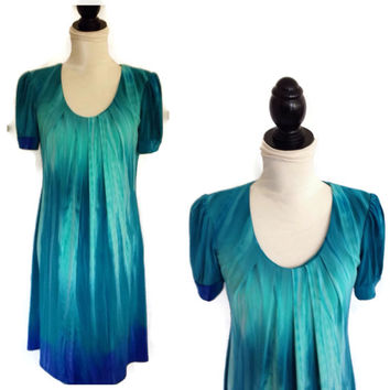 1980's R & M Richards Dress- Aqua Ombré-Summer Dress-Beach-Pleats-Polyester Spandex-Tie Dye-Short Sleeves-Watery Blues-Mumu-Boho-Clothing