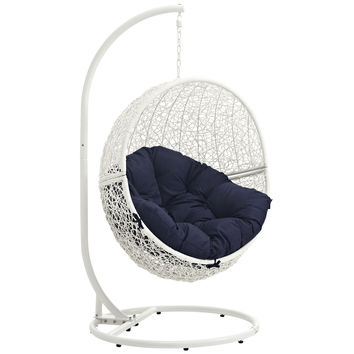 Hide Outdoor Patio Swing Chair White Navy