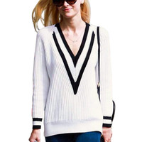 V-neck Striped Long Sleeve Knit Sweater