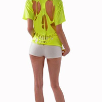 Ripped Skull Neon Top