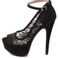 Lace Peep Toe Platform Pumps by Charlotte Russe - Black