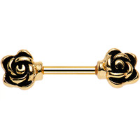 "14 Gauge 3/8"" Rose Gold Anodized Rose Ended Barbell Nipple Ring 