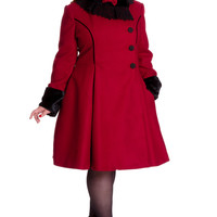Hell Bunny Plus Size Vintage Victorian Design Burgundy Angeline Winter Coat