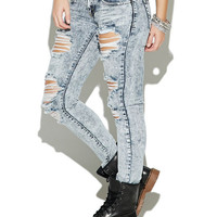 Acid Wash Destroyed Skinny Jean | Wet Seal