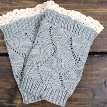 Womens Grey Knit Boot Cuffs, Knitted Boot Lace Boot Toppers, Lace trim Boot Cuffs, Knit Boot Cuffs, Lace Boot Toppers