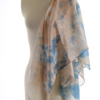 pink blue scarf, powder pink silk scarf, large square scarf, naturally dyed silk, madder indigo dyed silk,shibori shawl, gift for her