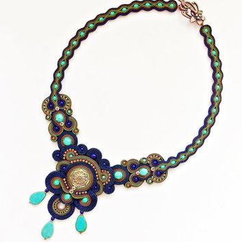 Blue soutache jewelry. Handmade soutache necklace.