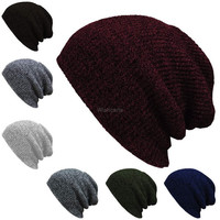 Fashion Unisex Wool Blend Knit Beanie Oversize Spring Fall Winter Hat Ski Cap(7 Colors)