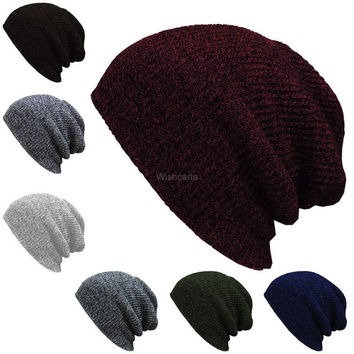 Fashion Unisex Wool Blend Knit Beanie Oversize Spring Fall Winter Hat Ski Cap(7 Colors) = 1958155908
