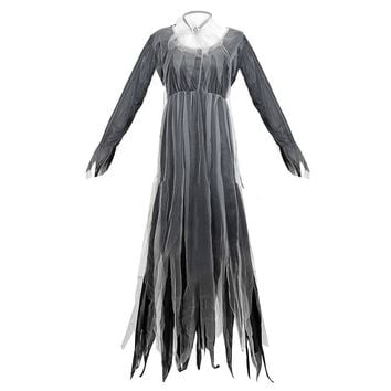 Women Halloween Corpse Bride Costumes Black Zombie Ghost Wedding Dress Outfits
