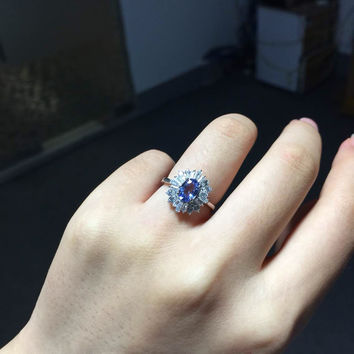 Vintage Engagement Wedding Ring for woman genuine bule tanzanite ring real 925 Solid Sterling Silver jewelry ring for lady