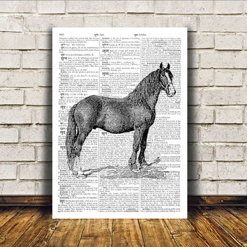 Horse poster Animal art Modern decor Dictionary print RTA22