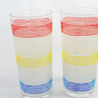 Two Water Tumblers , Ice Tea Glasses , Glassware by Anchor Hocking , Pink , Blue , White and Yellow , 1960s