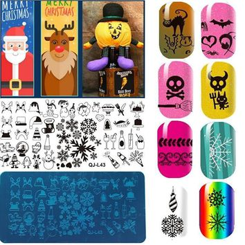 QJ PIASTRA NATALE CHRISTMAS NAIL ART stamping PLATE manicure STENCIL template
