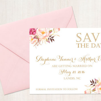 Save the Date Card - 4.25 x 5.5 size - Romantic Blooms - Vintage Antique Gold - Personalized - I Create and You Print