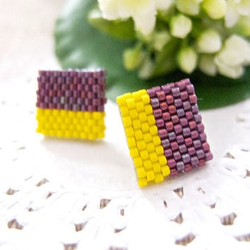 Purple Yellow Color Block Geometric Square Ear Studs by JeannieRichard