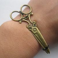 fashion Adjustablebronze scissors black ropes bracelet mens bracelet cool bracelet jewelry bracelet bangle bracelet  cuff bracelet 858S