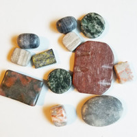 12 stone beads mixed lot gemstone pendants natural marble #supply3070