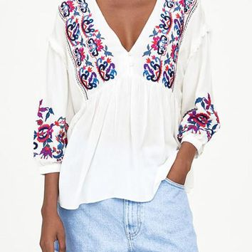 White Floral Embroidery Buttons Draped V-neck Bohemian Sweet Blouse