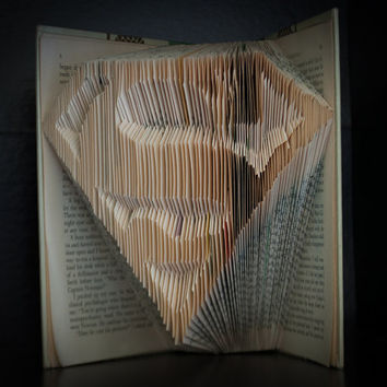Folded Book Art- Book Lovers-Superman-Home Decor
