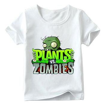 Children Funny Game Plants Vs Zombies T shirt Baby Boys/Girls Summer Top Short Sleeve T shirts Kids Cartoon Clothes,HKP2404