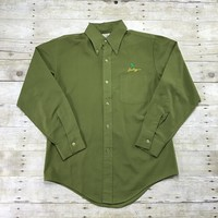 Vintage 1980s Lucky 4 Leaf Clover Embroidered Green Button Down Shirt Mens Size Medium