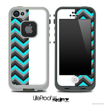 Turquoise and White Double Tone Chevron Pattern Skin for the iPhone 5 or 4/4s LifeProof Case