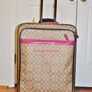 "Coach Suitcase Luggage 26"" Signature C Large Wheeled Travel Bag NWT Authentic!"