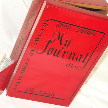 MEDIUM JOURNAL Diary storage Box. Lockable Wooden journal Box + Free mini 80 page pocket NoteBook. Red & Black and Gold. Can be personalised
