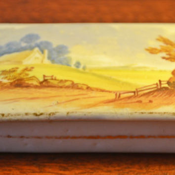 Two Antique Pill Boxes, Trinket / Ring Caskets, Porcelain Match Box