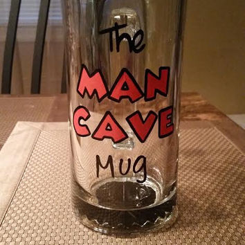 The MAN CAVE hand-painted beer mug